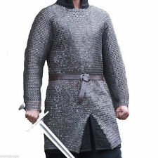 10MM CHAINMAIL SHIR HAUBERK  MEDIUM FLAT RIVETED WITH WASHER OILED MEDIEVAL