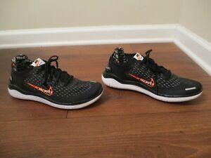 "Used Sz 10 Nike Free RN 2018 JDI ""Just Do It"" Shoes Black Orange AT4246 001"