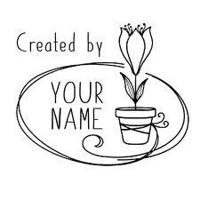 custom name Potted plant tulip flower handmade by personalized self inking stamp