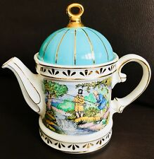 "Collector's Registered DesIgn English James Sadler ""Fishing"" ironstone Teapot"