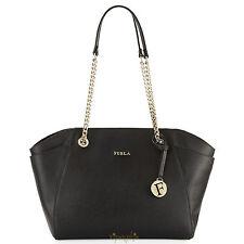 Furla Julia Black Onyx Saffiano Leather Bag Medium Tote New $428 Made In Italy