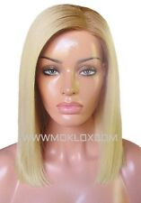 Human Hair Wig Glueless Full Lace 12 Short Medium Bob Blonde 613 Roots Silk Top