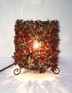 Multi-color BOHO Beaded Cylindrical Table Lamp