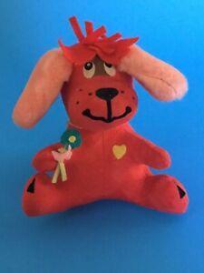 NEW DAKIN DREAM PET #11 RUFUS DOG RED PINK PLUSH NWT FLOWER PUPPY STUFFED ANIMAL