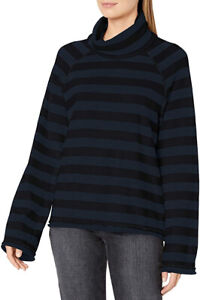 Michael Stars Alicia Rugby Stripe Cowl Neck Navy/Black Shirt Top Small NEW