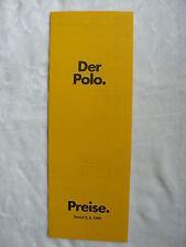 VW Polo - Typ 86C - Preisliste price-list 08.1982
