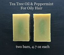 2 Organic Natural Tea Tree Oil Peppermint Shampoo Bars For Oily Hair Itchy Scalp