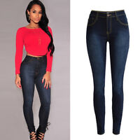 Womens Ripped Jeans High Waist Denim Trousers Slim Skinny Stretch Jeggings Pants