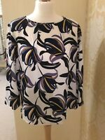 NEW  M&S COLLECTION IVORY BLUE YELLOW FLORAL BLOUSE TOP SIZE 12 -18