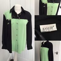 BASLER Mint Green Black Silky  Blouse Unusual Buttons Heart Embroidered Sz 10/12