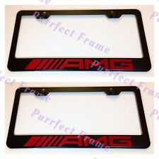 2X Mercedes AMG Red Style Stainless Steel License Plate Frame Rust Free W/Cap