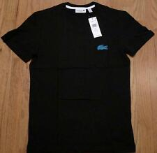 Mens Authentic Lacoste Contrast Croc V-Neck T-Shirt Black/Light Blue 3 Small $60