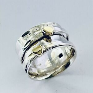 925 Sterling Silver Spinning Ring with Gold Hearts Worry Stress Size Q