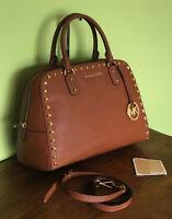 Michael Kors Brown Saffiano Leather Studs Satchel Handbag Crossbody Bag