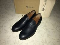 Loro Piana shoes size US 9.5  / EU 43.5 Loafers blue leather Made in Italy
