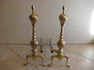 "Pair Of Vintage Brass Fireplace Andirons, 20"" Tall X 16"" Deep, Weighs 10 Lbs"