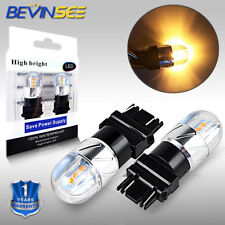 BEVINSEE 3157 4114 4157 LED DRL Driving Daytime Running Light Bulbs Amber Yellow