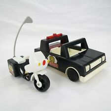 POLICE CAR & MOTORCYCLE - VINTAGE 1981 FISHER-PRICE HUSKY HELPERS VEHICLES