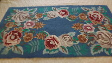 "VINTAGE HOOKED WOOL RUG COUNTRY ROSES 27"" X 49.5"" RUNNER CARPET MAT PETTIPOINT"