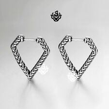 Silver stud pentagon shape carved stainless steel earrings dangle Soft Gothic