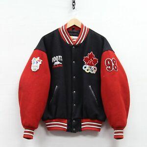 VTG 1998 Team Canada Nagano Roots Wool Bomber Jacket Large 90s Winter Olympics