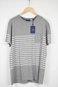 GANT PLACED BRETON Men X LARGE Striped Grey Mélange Pure Cotton T-Shirt 18941*
