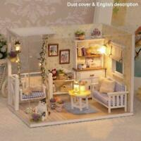 DIY Dollhouse Kits Miniature House Kit Model with LED Coca's Lights Idea Z0D7