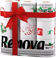 Renova White Print 3 Ply Christmas Xmas Toilet Tissue Paper 9 Rolls