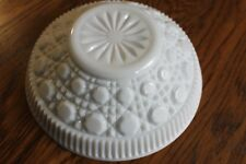 Vintage Medium-Sized  Serving Bowl - White Milk Glass - Ribbed/Octagon Buttons