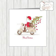 Scooter Christmas Card Santa With Xmas Tree Vespa Lammy Husband Wife Brother Sis