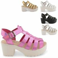 NEW LADIES THICK MID HEEL PLATFORM CUT OUT ANKLE STRAPPY PUNK SANDALS SIZE 3-8