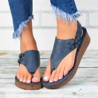 Women's Summer Roman Thong Sandals Ladies Strappy Buckle Flip Flops Wedge Shoes