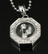 Classic Octagon Sterling Silver Pave CZ Glass Pendant Necklace CZ Move Inside