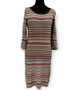 Monsoon Knit Dress Size 14 Grey Red Fair Isle Cotton Wool Blend Midi Sweater