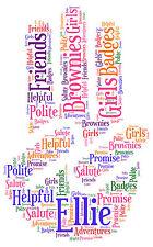 Trois personnalisé doigt Salute Brownie-guide de Filles-Art Mot promesse