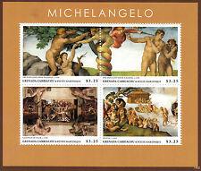 Grenada Grenadines 2014 MNH Michelangelo 4v M/S Art Paintings Paradise Stamps