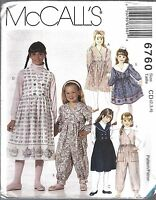UNCUT Vintage McCalls Sewing Pattern Girls Dress Jumper Jumpsuit 6760 2 3 4 OOP
