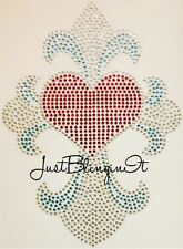 Cross with Heart Hot Fix Rhinestone Iron On Transfer Bling MADE IN USA