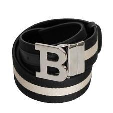 BALLY B BUCKLE 45 REVERSIBLE CANVAS STRIPE WEB BLACK LEATHER LOGO BELT 95 38