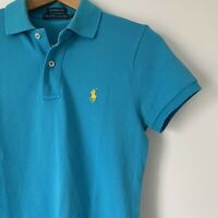 Womens Ralph Lauren Skinny Polo Shirt Size Small Blue Casual Top Short Sleeve