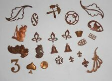 lot d' anciens petits ornements de coffret , de cadre ,  en cuivre
