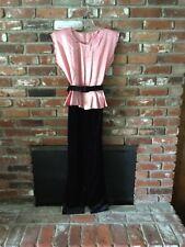 Incredible Avon Fashions VTG 1980's Jumpsuit Sz 7-8 Satin Top Velvet Bottom,EUC