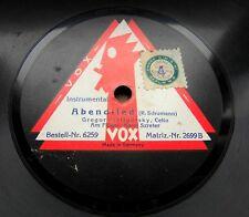 1187/ GREGOR PIATIGORSKY-CELLO-Abendlied-Schumann-Lago-Händel-78rpm Schellack