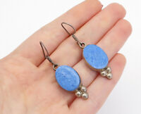 MEXICO 925 Sterling Silver - Vintage Blue Turquoise Oval Dangle Earrings - E9037