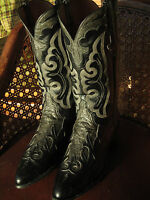 RareVintage!! LUCCHESE Ostrich Inlay Cowboy Boots !! sz Men's 10 - 10.5
