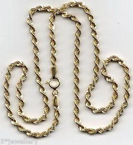 """VERO 9ct 375 oro giallo stile corda CATENINA NUOVA 7.25 """" 16 """" 18 """" 20 """" 55.9cm"""