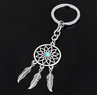 Charm Silver Metal Feather Tassels Key Chain Ring Dream Catcher Keyring Keychain