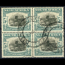 SOUTH AFRICA. 1933-48 5s Black & Green SG 64. Block of Four. Fine Used. (AR366)