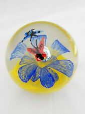 Vintage Butterfly & Flower Paperweight - Clear Glass Controlled Bubble Blue Red
