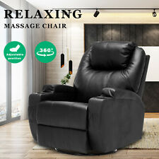 Electric Massage Chairs Recliner Chair Lounge Swivel Heated Sofa Leather Black